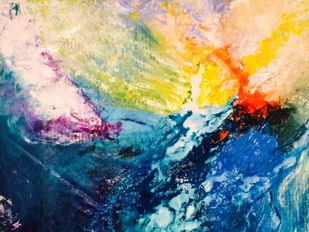 Wind Beneath My Wings by Anu Vittal, Abstract Painting, Acrylic on Canvas, Blue color