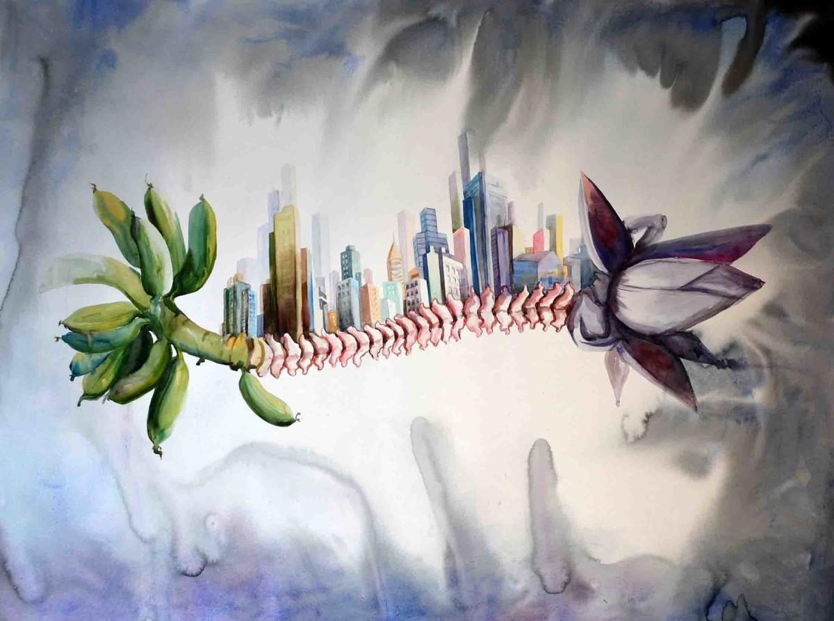 urbanization XI by pankaj kumar chouhan, Expressionism Painting, Watercolor on Paper, Gray color