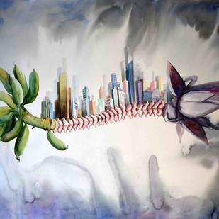 urbanization XI by pankaj kumar chouhan, Expressionism Painting, Watercolor on Paper, Gray color