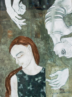 Untitled by Priyanka Waghela, Expressionism Painting, Acrylic on Paper, Green color