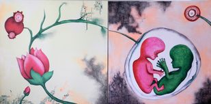 Ecstatic Birth by Upasna Tripathi, Conceptual Drawing, Acrylic & Ink on Canvas, Pink color