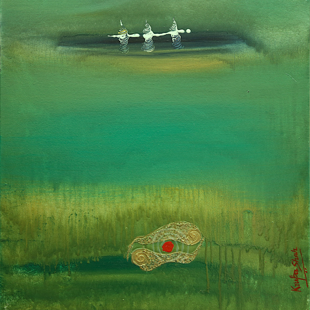 The Hum of the Eternity by Krupa Shah , Abstract Painting, Oil on Canvas, Green color