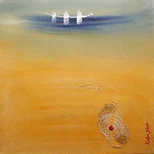 The origin of the Vedas by Krupa Shah , Abstract Painting, Oil on Canvas, Brown color