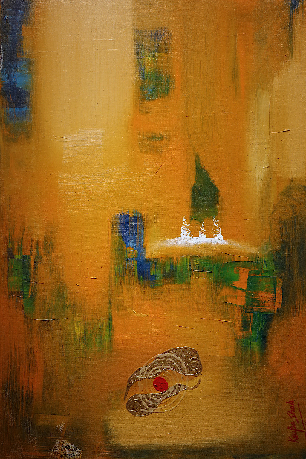 The Energy Vibration by Krupa Shah , Abstract Painting, Oil on Canvas, Brown color