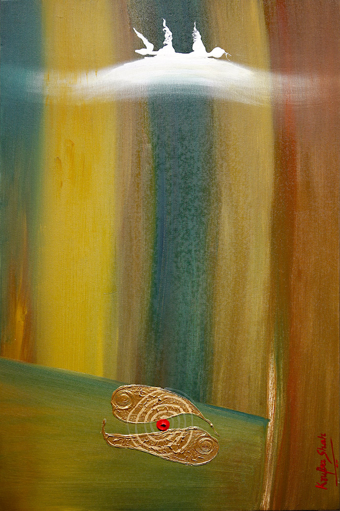 The Battle Horn by Krupa Shah , Abstract Painting, Oil on Canvas, Green color