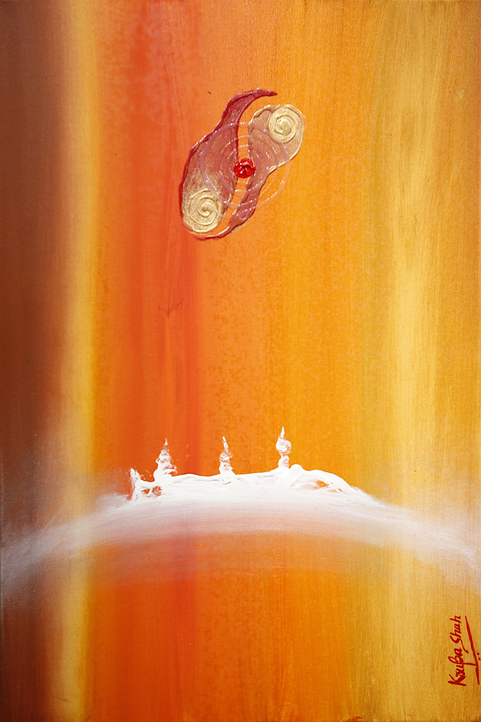 A Story in Numbers by Krupa Shah , Abstract Painting, Oil on Canvas, Orange color