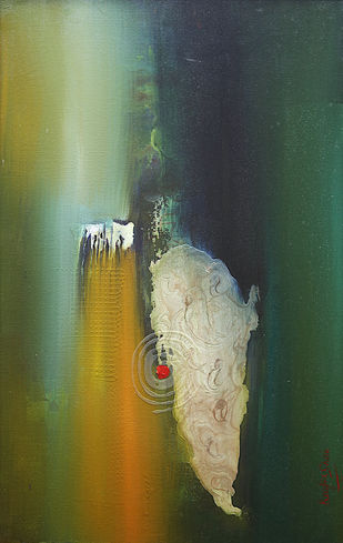 Emanating the sound by Krupa Shah , Abstract Painting, Oil on Canvas, Green color