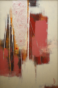 The Root word is Shum by Krupa Shah , Abstract Painting, Acrylic on Canvas, Beige color