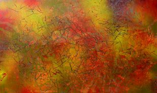 Story of a valley by Aditi Chakravarty, Abstract Painting, Acrylic on Canvas, Brown color