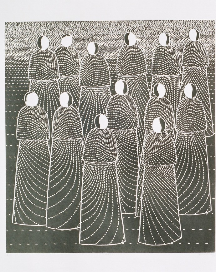 Chateratti by Hemavathy Guha, Expressionism Printmaking, Wood Cut on Paper, Gray color