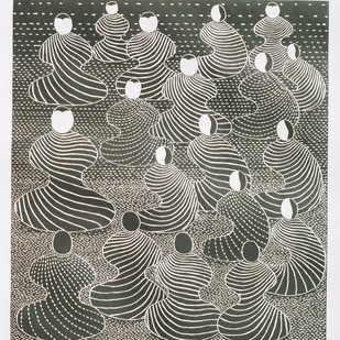 The Leader-II by Hemavathy Guha, Expressionism Printmaking, Wood Cut on Paper, Gray color