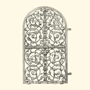 B-W Wrought Iron Gate VII Digital Print by Unknown,Decorative