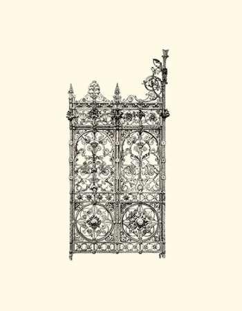 B-W Wrought Iron Gate V Digital Print by Unknown,Decorative