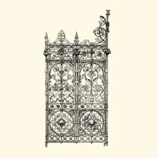 B-W Wrought Iron Gate V Digital Print by Unknown,Decorative