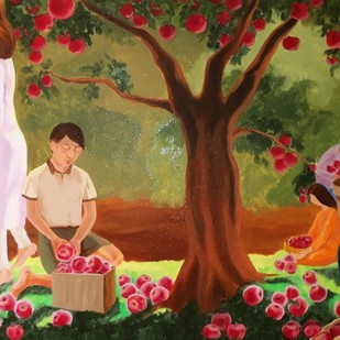 Abundance by Smita Shinde, Expressionism Painting, Oil on Canvas, Brown color
