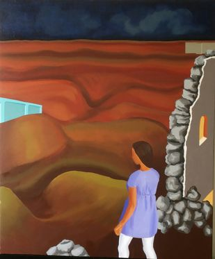 Vision Expanded by Smita Shinde, Expressionism Painting, Oil on Canvas, Brown color