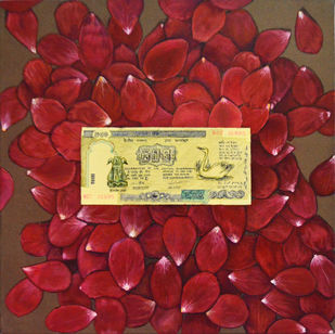 dinar by Kunal Jain, Expressionism Painting, Acrylic on Canvas, Brown color