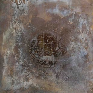oasis, mirror by Viraag Desai, Expressionism Painting, Mixed Media on Canvas, Brown color