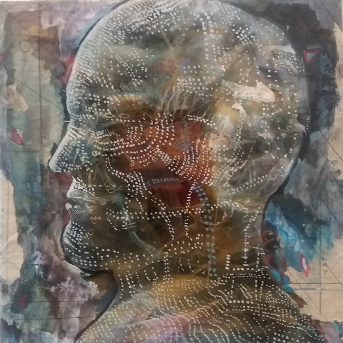 The head by Viraag Desai, Conceptual Painting, Mixed Media on Canvas, Brown color