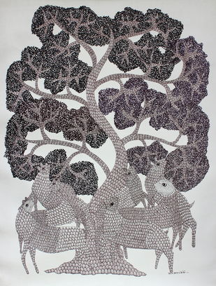 Reunites under the tree by Ajay kumar Ureti, Folk Painting, Acrylic on Canvas, Gray color