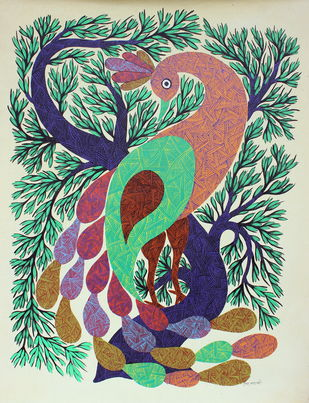 Peacock on tree branch by Raju Marawi, Traditional Painting, Acrylic on Canvas, Beige color