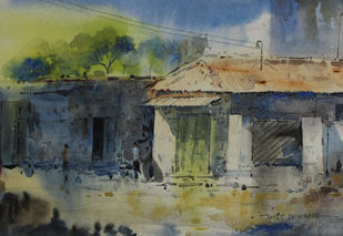 Landscape by Amit Dewhare, Impressionism Painting, Watercolor on Paper, Green color