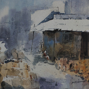 Landscape by Amit Dewhare, Impressionism Painting, Watercolor on Paper, Gray color