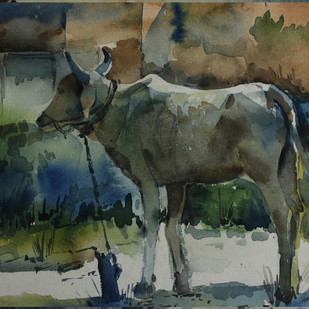 COW by Amit Dewhare, Impressionism Painting, Watercolor on Paper, Green color