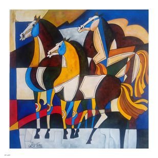 HORSE 2 by PARESH MORE, Geometrical Painting, Acrylic on Canvas, Brown color
