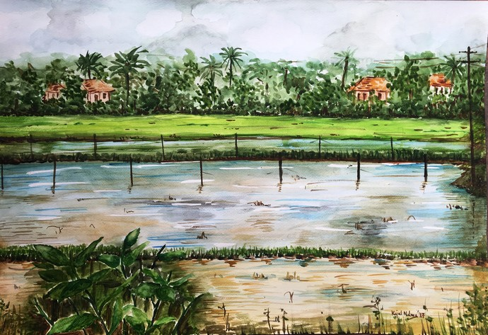 Rice fields by Kajal Nalwa, Impressionism Painting, Watercolor on Paper, Green color