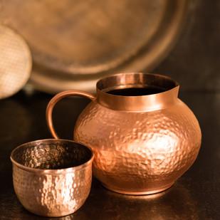 Courtyard Jaipuri Pure Copper Matki Jug With Glass Kitchen Ware By COURTYARD