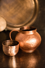 Courtyard Jaipuri Pure Copper Matki Jug With Glass Kitchen Ware By COURTYARD