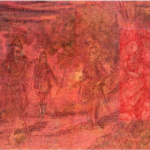 The Moment Of Epiphany by V Ramesh, Traditional Painting, Oil on Canvas, Red color
