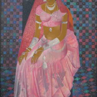 Bride by Surjit Akre, Expressionism Painting, Oil on Canvas, Red color