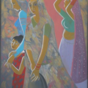 After the Work by Surjit Akre, Expressionism Painting, Oil on Canvas, Red color
