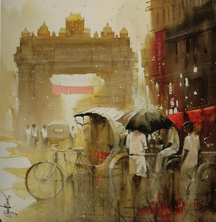 temple entrance_01 by nadees prabou, Impressionism Painting, Watercolor Wash on Paper, Brown color