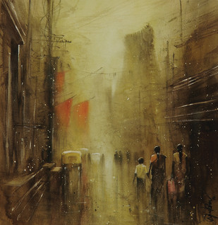 dusk of the evening_02 by nadees prabou, Impressionism Painting, Watercolor Wash on Paper, Brown color