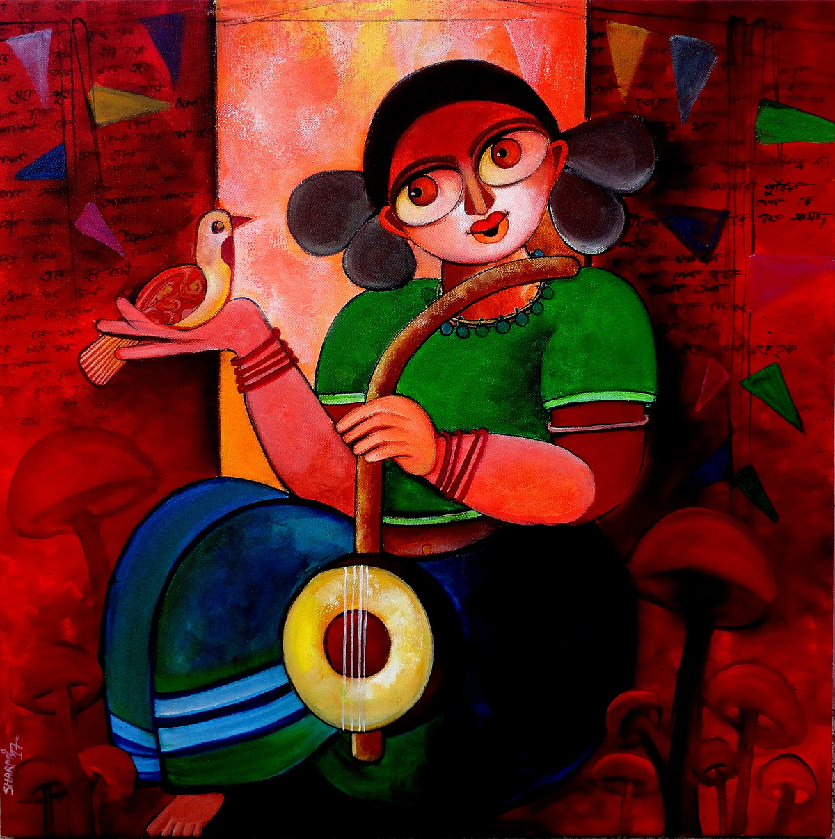 Celebration by Sharmi Dey, Expressionism Painting, Acrylic on Canvas, Brown color