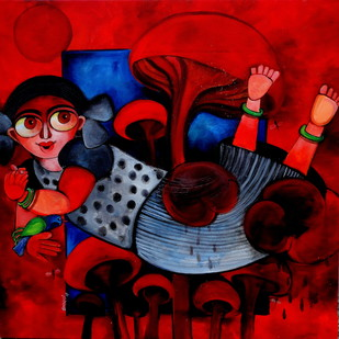 Hazel by Sharmi Dey, Expressionism Painting, Acrylic on Canvas, Red color