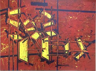 Chairs and Tables after Meeting by Saikat Chakraborty, Impressionism Painting, Acrylic on Canvas, Brown color