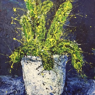 cactus by Saikat Chakraborty, Impressionism Painting, Acrylic on Canvas, Blue color