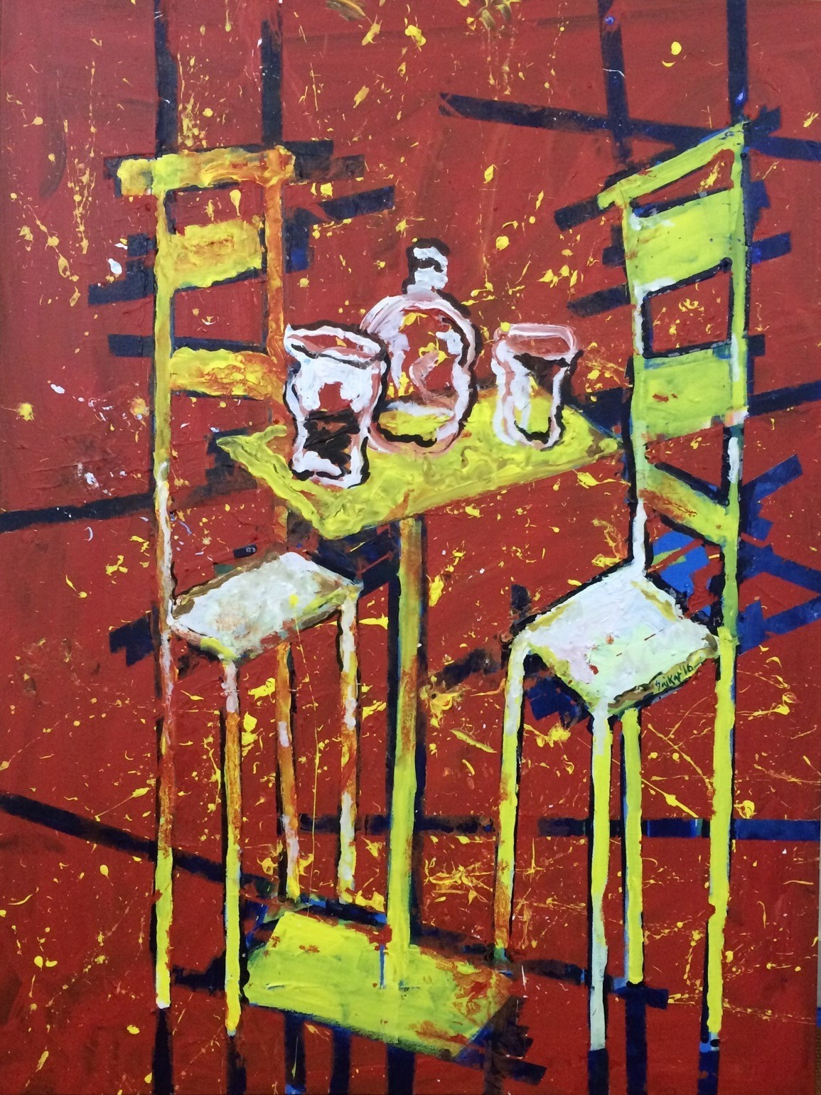 conversation over a drink by Saikat Chakraborty, Impressionism Painting, Acrylic & Ink on Canvas, Brown color