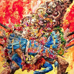 Blue Tara by Viraag Desai, Abstract Painting, Mixed Media on Board, Brown color