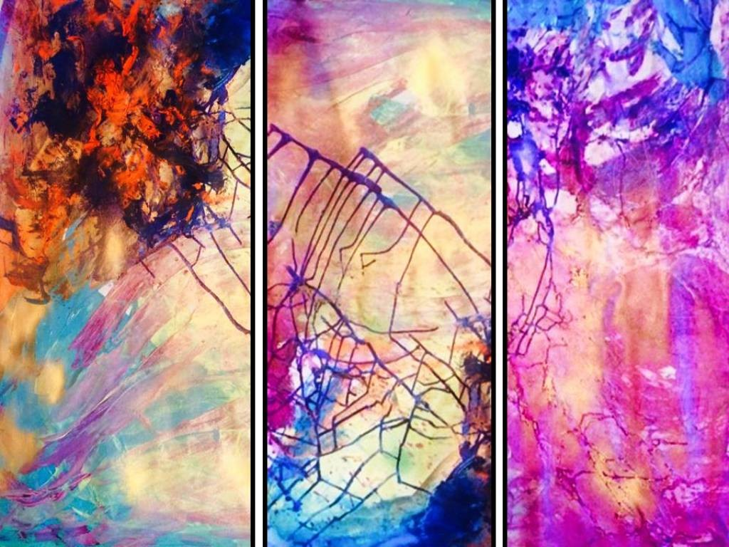 Diamond in the Sky of Purple Rain by Anu Vittal, Abstract Painting, Acrylic on Canvas, Purple color