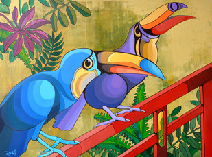 The Perching Toucans by Studio Zaki, Pop Art Painting, Acrylic on Board, Beige color