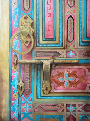 The Gilded Door by Studio Zaki, Art Deco Painting, Acrylic on Canvas, Brown color