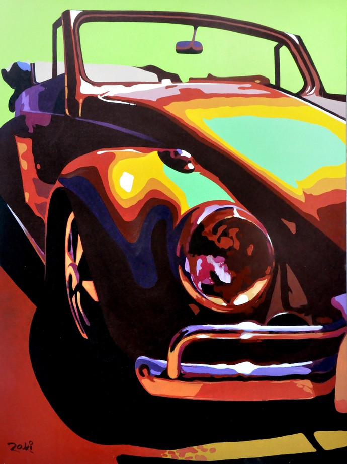 Nostalgic Ride by Studio Zaki, Pop Art Painting, Acrylic on Canvas, Brown color