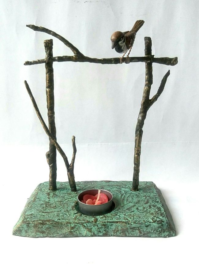 Twig Bird Tea Light Holder T-Light and Votive Holder By THE ART SPA