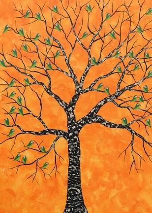 Kurva Vriksh by Sumit Mehndiratta, Impressionism Painting, Acrylic on Canvas, Brown color