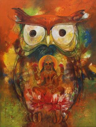 Laxmi in a owl by Rajeshwar Nyalapalli, Traditional Painting, Acrylic on Canvas, Brown color